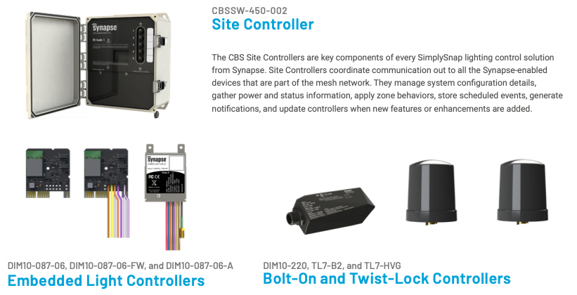 JSLP SYNAPSE SPORTS LIGHTING CONTROLS HARDWARE COMPONENTS