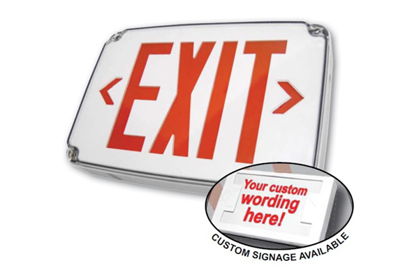 JES-WP LED COMPACT WET LOCATION POLYCARBONATE EXIT SIGN